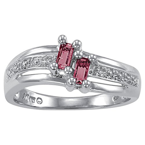 ArtCarved Love Moments Simulated Ruby July Birthstone Ring, Sterling Silver, Size 8