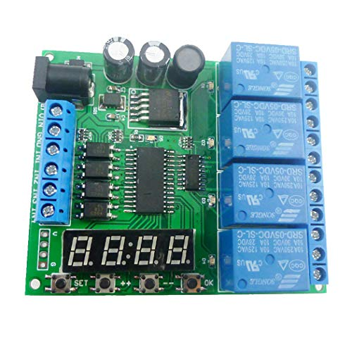 Eletechsup DC 12V 4 Channel Multifunction Cycle Delay Timer Relay Module : Timing Loop Interlock Self-Locking Momentary Bistable Monostable (1)