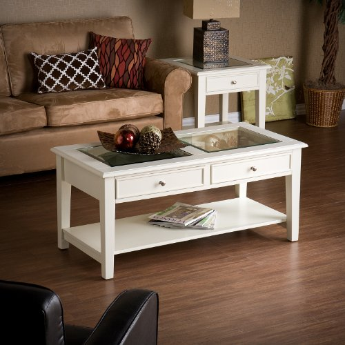 Wood and Glass Cocktail Coffee Table with 2 Drawers - Off White