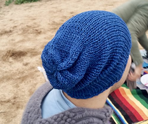 Handmade Womens Electric Blue Alpaca Slouchy Beanie Hat