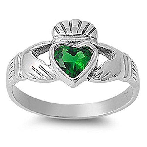 Blue Apple Co. 925 Sterling Silver Claddagh Ring Bezel Set Heart Shape Simulated Emerald Celtic Wedding Ring