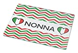 Rikki Knight Nonna name on Italian Flag and Green and Red Chevron Small glass Cutting board