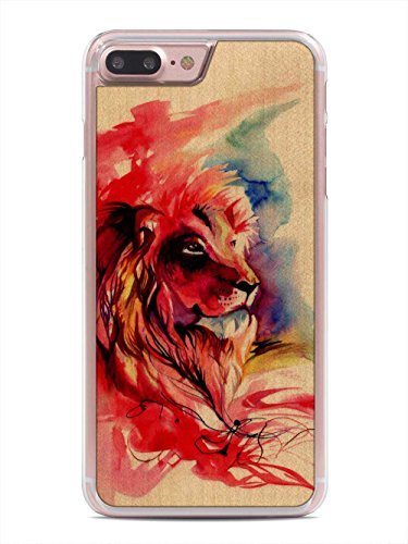 Katy Lipscomb Lion Splash Print by Carved - Apple iPhone 7 Plus Wood Case - Clear Polycarbonate Hard Shell with Real All Wooden Cover - Lion Wood Print