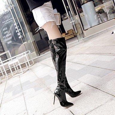 4u® Rød Rubin Støvler Bedste 12 Vinter Patenteret Kvinder Og Mode Læder Stilethæle Hvid Nat Falde Cm Part Lynlås Sort 10 A4AZxwqSr