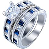 925 Silver Sapphire White Topaz Gemstone Band Ring Set Wedding Jewelry Size 6-12 (12)