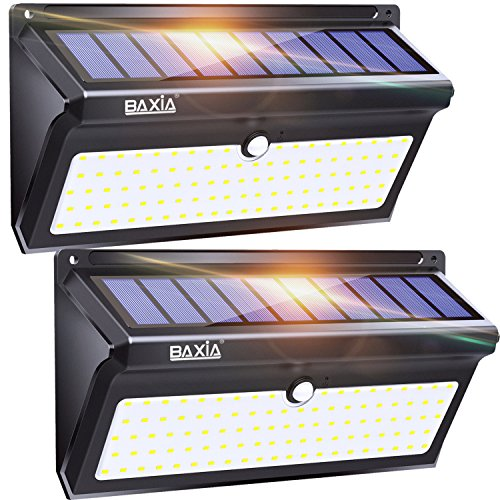 BAXIA Technology Solar Lights Outdoor, Wireless 100 LED Solar Motion Sensor Lights Waterproof Security Lighting Outdoor for Front Door, Backyard, Steps, Garage, Garden(2000LM, 2PACK) by BAXIA TECHNOLOGY