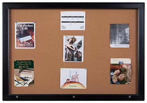 Displays2go Black Aluminum Enclosed Corkboard Displays (18) 8-1/2 x 11 Inches Pages, Locking Swing-Open Style Door with Rubber Gasket for Indoor Or Outdoor Use (ODNBCB18BK) by Displays2go