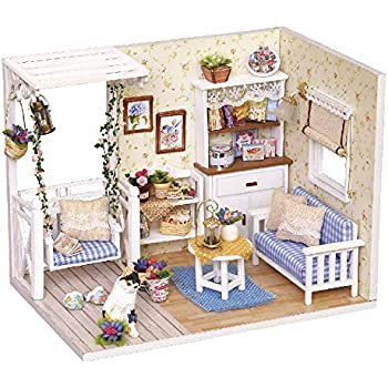 My Little Warm Moment Spilay DIY Miniature Dollhouse Wooden Furniture Kit,Handmade Mini Modern Apartment Model Plus with Dust Cover /& Music Box 1:24 Scale Doll House Toys for Creative Gift