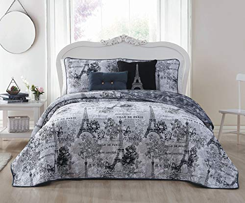 Avondale Manor Amour 5-Piece Quilt Set, Queen, Black/White
