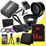 NPFW50 Rechargeable Lithium Ion Replacement Battery w/External Rapid Charger + 8GB SDHC Class 10 Memory Card + 49mm 3 Piece Filter Kit + Wide Angle Lens + 2x Telephoto Lens + Mini HDMI Cable + Multi Card USB Reader + Memory Card Wallet + Deluxe Starter Ki