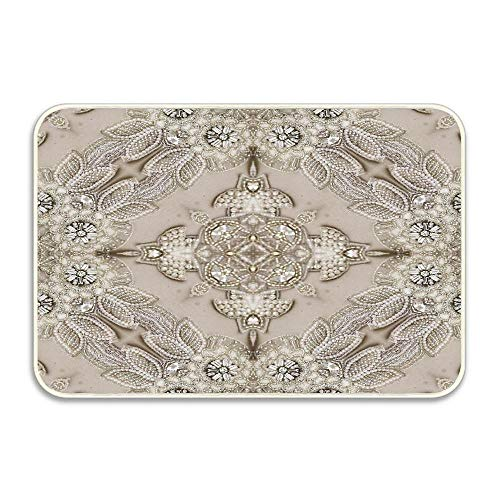 - Puyrtdfs Vintage Rhinestone Lace Pearl Glamorous Great Gatsby Entrance Door Mat, 16x24 inch Durable Large Heavy Duty Front Outdoor Rug, Non-Slip Welcome Doormat for Entry