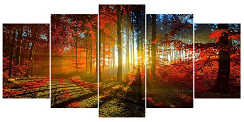 Forest Large Canvas Wall Art Red Modern Landscape Painting Giclee Print Framed Artwork Stretched Pictures (Framed Canvas Paintings)