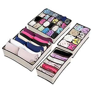 Underwear Organizer, Magicook 4 Set Foldable Clothing Storage Boxes, Tie Bra Socks Closet Storage Organizer Drawer Divider Box (Beige) (Beige)