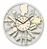 7ArtsStudio Barbershop Wall Clock Made of WOOD – Perfect and Beautifully Cut – Decorate your Home with MODERN ART – UNIQUE GIFT for Him and Her – Size 12 Inches
