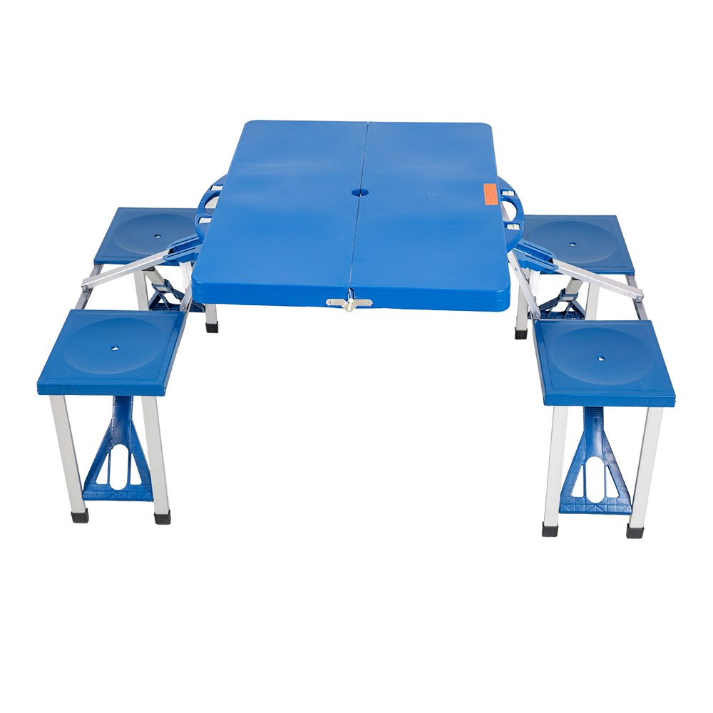 KARMAS PRODUCT Portable Folding Picnic Table with 4 Seats Bench,Lightweight Indoor/Outdoor Camping Suitcase Table w/Umbrella Hole,Blue