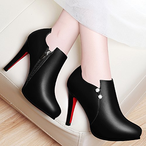 With Shoes Single Shoes Heel Black High Heel And High In And Leather Shoes Autumn For Black And HGTYU English Marriage Winter 10Cm Shoes qTw1TE