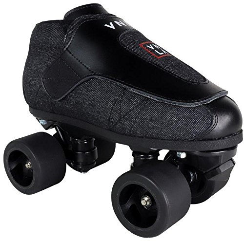 VNLA Stealth Jam Skates | Quad Roller Skates from Vanilla - Indoor Speed Skates - Denim and Leather - For Tricks and Rhythm Skating (Matte Black) ()
