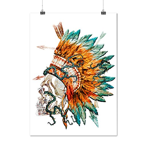 Native Feather Skull War Tattoo Matte/Glossy Poster A4 (9x12 inches) | Wellcoda