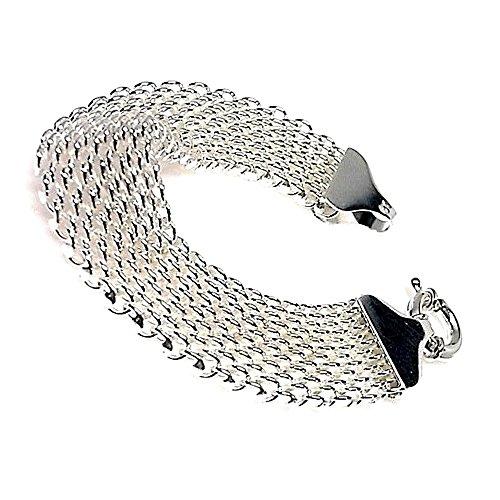Bracelet loi 925m argent lisse large maille [AB0216]