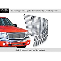 APS Compatible with 2003-2006 GMC Sierra 1500 2500 3500 & 07 Classic Stainless Steel Silver 8x6 Horizontal Billet Grille Insert Combo N19-C69776G