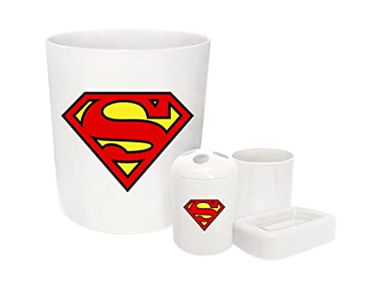 Charmant The Furniture Cove New Plastic 4 Piece Bathroom Accessories Set In White  Featuring Superman Logo Theme