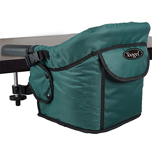 Hook On Chair, Safe and High Load Design, Fold-flat Storage and Tight Fixing Clip on Table High Chair, Machine-Washable and Avoid Cracking Fabric, Removable Seat Cushion, Fast Table Chair (Dark Green) from Toogel