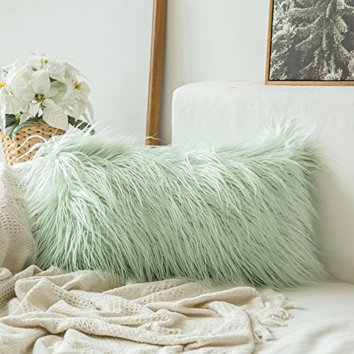 MIULEE Decorative New Luxury Series Style Green Faux Fur Throw Pillow Case Cushion Cover for Sofa Bedroom Car 12 x 20 Inch 30 x 50 cm