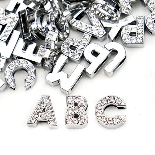 (JETEHO 104pcs 8mm A-Z Full Rhinestones 8mm Slide Alphabet Letters for DIY Wristbands Bracelets, Jewelry Making)