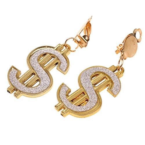 Dollar Costumes Jewelry (Jili Online Bling Jewelry Dollar Sign Money Earrings Dangling Hen Night Fancy Costume Party Hip Hop Gift)