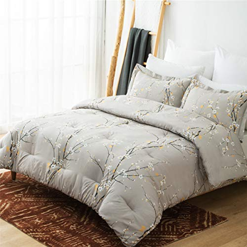 Bedsure Comforter Set King Size - Down Alternative Comforter, Microfiber Duvet Sets - 3-Piece (1 Comforter + 2 Pillow Shams), Plum Blossom Pattern, Grey