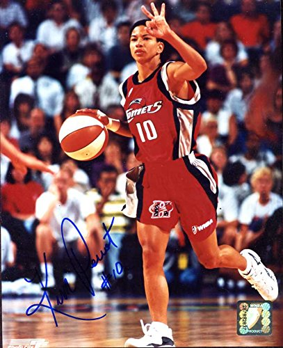 Kim Perrot (D.1999 WNBA) Autographed/ Original Signed 8x10 Color Action-photo w/ Inscription of #10 Which is Retired by the Houston Comets