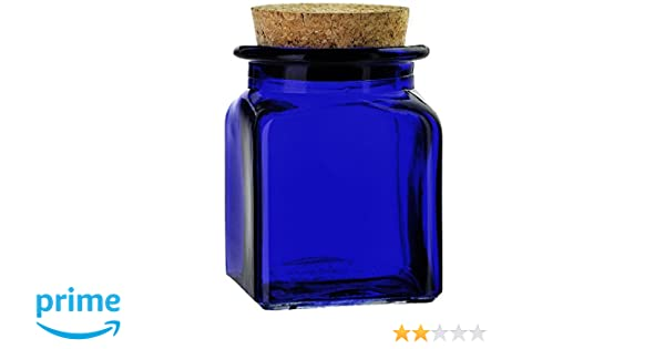 53c0e465a44e Couronne Company 6154G15-C Square Glass Jar with Cork 8.5 oz Cobalt Blue