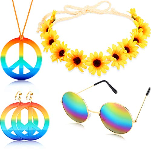 Geyoga 4 Pieces Hippie Costume Set Includes Rainbow Peace Sign Necklace Earring Sunflower Headband and Round Hippie Sunglasses 60s 70s Party Accessories Peace Set