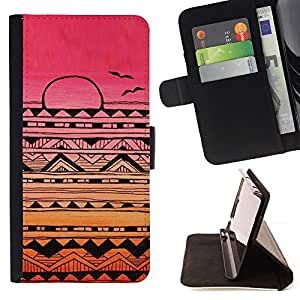 BullDog Case - FOR/Samsung Galaxy S6 EDGE / - / Indian native American pattern pink sunset /- Monedero de cuero de la PU Llevar cubierta de la caja con el ID Credit Card Slots Flip funda de cuer