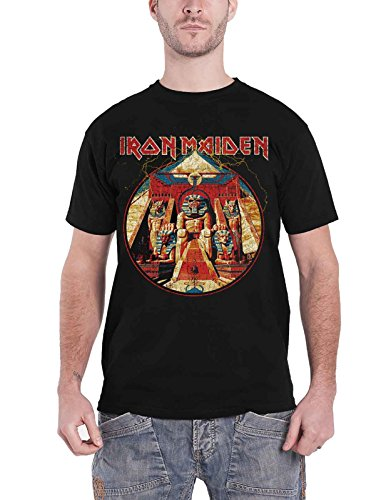 Iron Maiden T Shirt Powerslave Lightning Circle Band Logo Official Mens Black