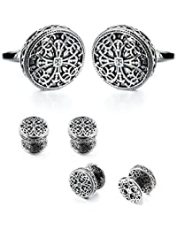 Vintage Cufflinks and Tuxedo Shirt Studs for Men Retro Flower Pattern - Best Wedding Business Gifts for Men with Box