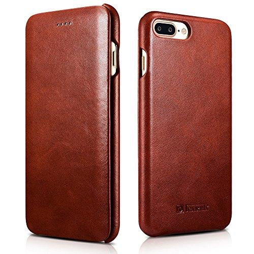 iPhone 7 Plus Real Leather Case, icarercase Handmade Vintage Series Curved Edge Full Body Protection Folio Flip Case Cover for iPhone 7 Plus 5.5