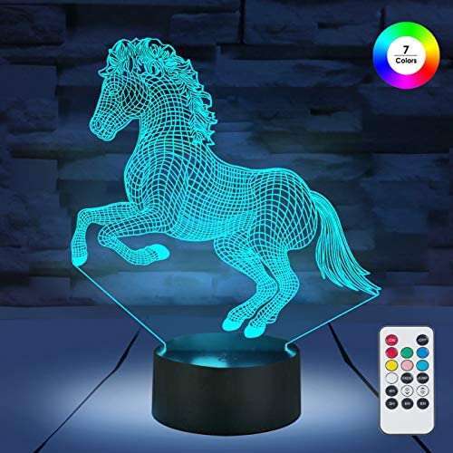 [ 7 Colors/3 Working Modes/Timer Function ] Remote and Touch Control Horse Night Lights, Dimmable LED Bedside Lamp for Children and Kid's Room