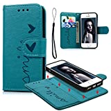 iPhone 5S 5 SE Case, Wallet Case Embossed Love PU Leather Cover Shockproof TPU Magnetic Detachable Wallet Flip Case with Slots Card Holder Wrist Strap for iPhone 5S 5 SE (Blue)