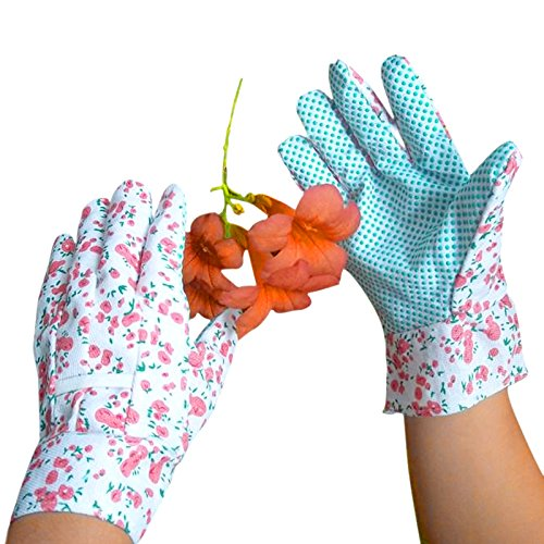 Elisona®2 Pairs All Purpose Garden Anti-slip Wear-resisting Home Gardening Plant Safety Work Gloves Random Color