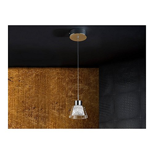 Schuller Spain 673295I4L Modern Chrome Hanging Ceiling Light Pendant glass shade pendant light 1 Light Dining Room, Living Room, Kitchen Molded Glass | ideas4lighting by Schuller