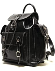 Floto Roma Backpack Polished Italian Calfskin Leather, with Pockets
