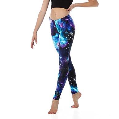 51a9bf0e66 Amazon.com: Youth Purple Galaxy Leggings: Clothing