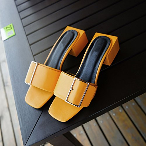 Jitong Ladies Comfortable Slip-on Sandals with Buckle Open-Toe Block Heel Slippers for Leisure Yellow UVIqtfmLmy
