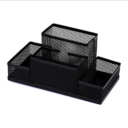 Lomsarsh New Desk Pen Holder Beautiful Metal Mesh Home Office Pen Pencils Holder Desk Stationery Storage Organizer Multifunctional Box ()