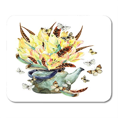 - Boszina Mouse Pads Watercolor Floral Garden with Tulips Feathers Butterfly and Teapot Romantic Flowers in Rusty Kettle Mouse Pad 9.5