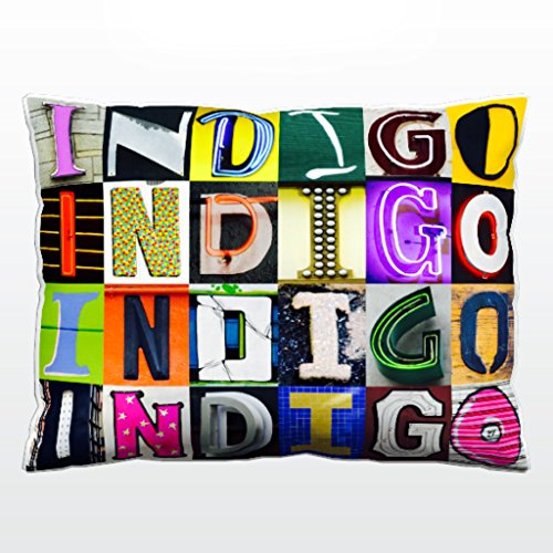 Indigo Letter Pillow (Personalized Pillow featuring the name INDIGO in sign letter photos)
