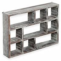 MyGift 15-Inch 9-Compartment Rustic Brown Wood Freestanding & Wall Mountable Shadow Box Display Shelf