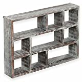 Cheap MyGift 15 Inch 9 Compartment Rustic Wooden Freestanding & Wall Mountable Shadow Box Display Shelf