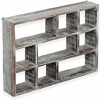 wooden freestanding wall mounted 12 compartment shadow box display shelf. Black Bedroom Furniture Sets. Home Design Ideas